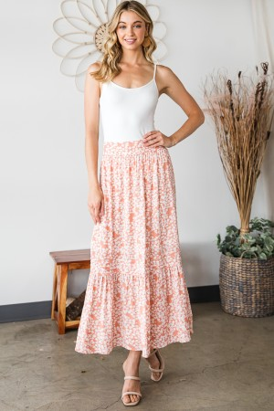 ES1010 / HEYSON<br/>FLORAL MAXI SKIRT WITH TIERED RUFFLE