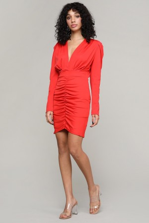 FLY90461 / LeBella Nova<br/>Solid Color V-neck Runched Long Sleeve Dress