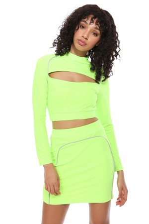 FLY96140 / LeBella Nova<br/>Reflective Strip Cut Out Detail Crop Skirt Set