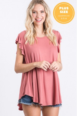 KRT1037P / Jade By Jane<br/>RUFFLE SLEEVE TUNIC TOP